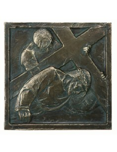 VIA CRUCIS 20 x 20 cm pasta madera imitación bronce