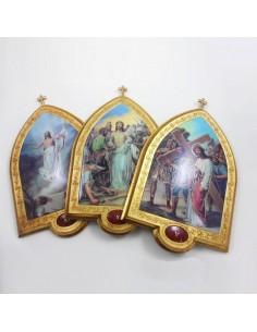 VIA CRUCIS EN PAN DE ORO 22 x 33.5 cm