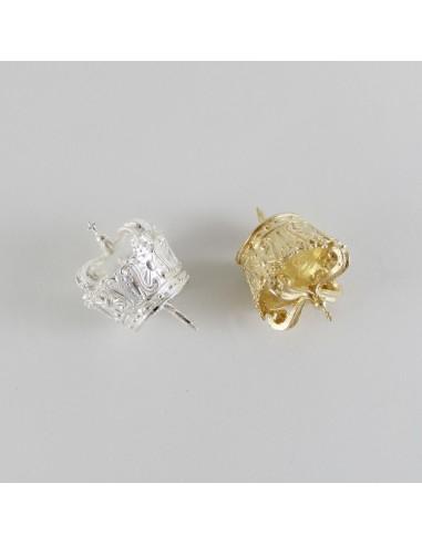 Corona estilo canasto para imágenes religiosas. Esta corona tiene un diámetros de 2,6cm. y está disponible en dorado y plata.