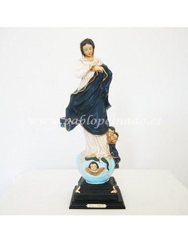 Imagen de Virgen Inmaculada en marmolina policromada.  DIMENSIONES: 40 CM