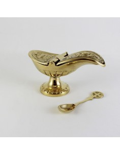 Naveta con cucharilla dorada Medida: 6 x 11 cm