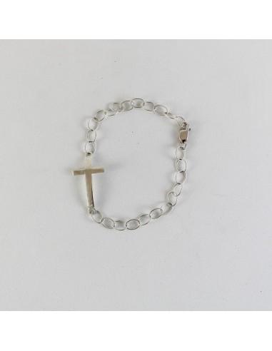Pulsera cruz plata de ley, 18 cm