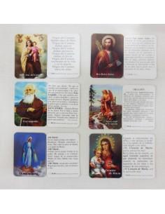 Estampas pequeñas con imágenes varias y oración. Medidas: 6 x 4,4 cm.  Indicar el modelo deseado en las observaciones del pe
