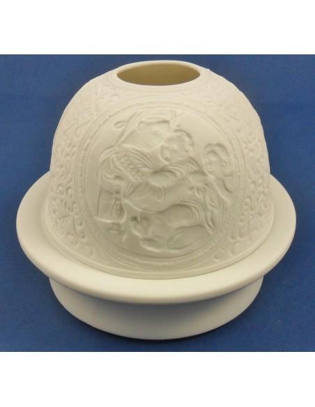 Lampara porcelana, a pilas.  10 x 12 cm.  Disponible en dos modelos: Sagrada Familia y Virgen con niño.