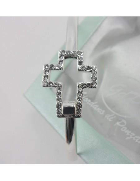 Pulsera rigida con cruz con piedras, metal 2,5 cm.