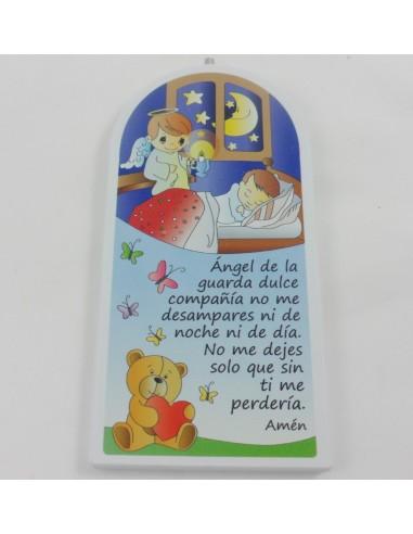 Icono madera con oracion del Angel de la guarda, 9 x 18 cm.