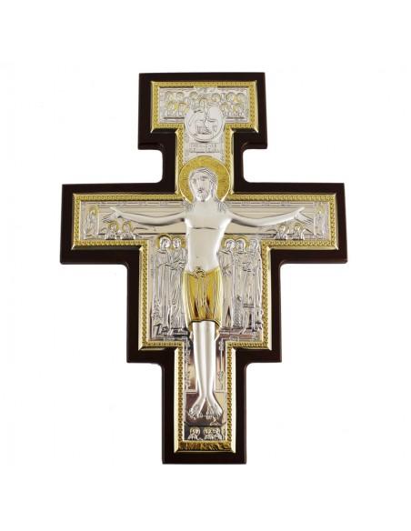 Cruz de madera con placa bilaminada de plata  Disponible en varias medidas: 8 x 11 cm  18 x 25 cm 23 x 32 cm