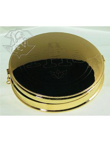 Portaviatico dorado con clips. Medidas:17 cm Ø x 3 cm.
