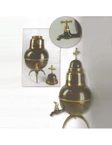 Recipiente para el santo oleo con tripode y grifo, con acabado antigüo y capacidad para 4L.