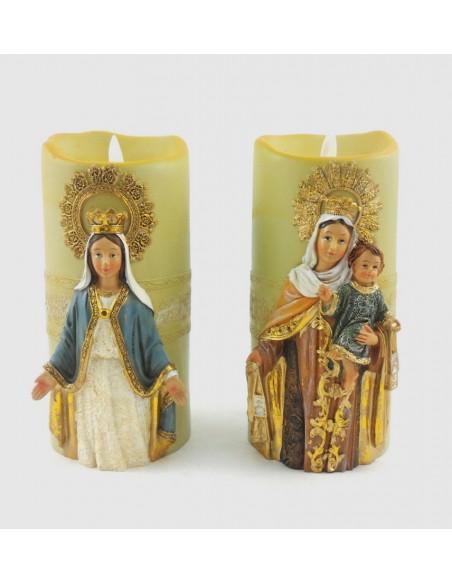 Vela con imagen de Virgen a pilas, 20 cm.  Disponible en dos modelos:  - Virgen del Carmen - Virgen Milagrosa