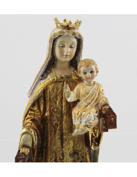Virgen del Carmen en resina decoración antigua con urna de cristal.  Dimensiones: 43 cm de altura x Ø 28 cm