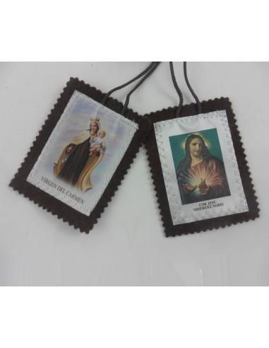 Escapulario de tela de 2.5 x 3 cm. Escapulario de la Virgen del Carmen y el Sagrado Corazon de Jesus.