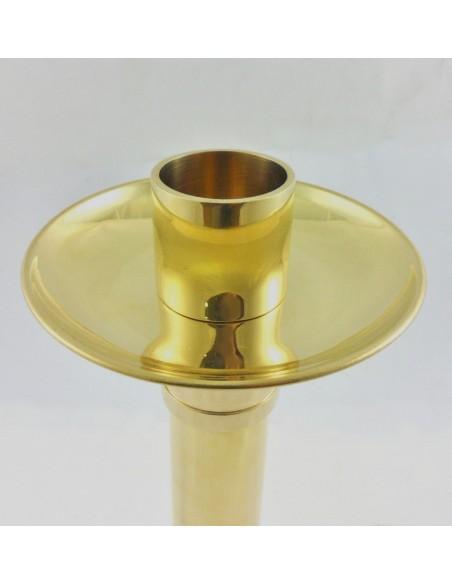 Candelero dorado metal 33 cm, diametro mechero 4 cm.  Opcional cambio mechero por pincho para velas de cera.
