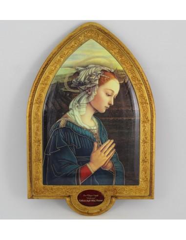 Cuadro oval pan de oro con imagen de la Virgen.  22x33,54 cm.