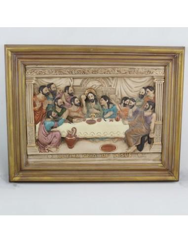 Cuadro Santa Cena con imagenes en relieve y enmarcado. Dimensiones: 40 x 50 cm.