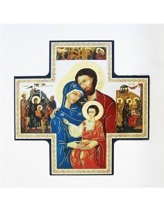Icono de madera en forma de cruz con motivo de Sagrada Familia. Dimensiones: 15 x 15 cm.