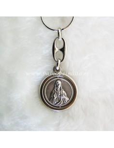 Llavero de metal con Sagrado Corazón de Jesús en anverso y Sagrado Corazón de Maria en el reverso.  Medidas:  Largo total: