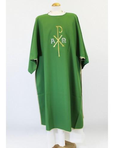 Dalmatica poliester, con bordado del Pax,  Disponible en varios colores: Roja, morada, blanca y verde.