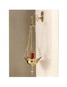 Lámpara Santísimo lisa 30 cm Ø, disponible en bronce su color dorado.  Brazo y vaso no incluido en el precio.