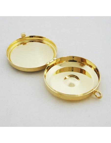 Portaviático dorado con motivos de vid, JHS y cirio.