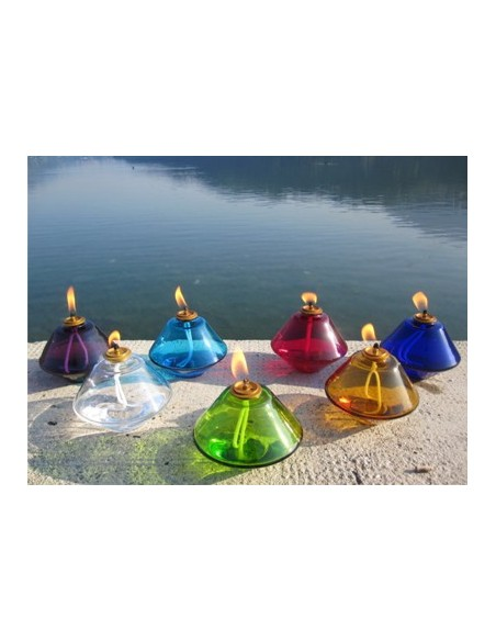Lámpara de cristal para cera líquida. Disponible en diferentes colores. Dimensiones: Ø 16 cm x 12 cm