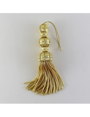 Borla con flecos canutillo de 13.5 cm. Color dorado