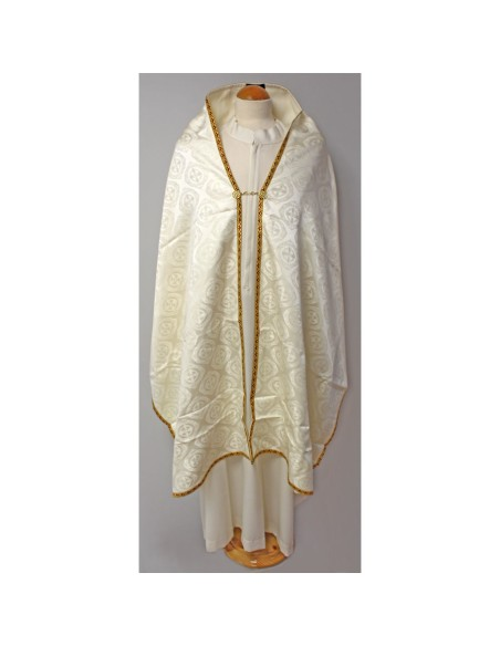 Paño hombros blanco con galón dorado.Tejido damasco.  Dimensiones: 260 x 65 cm