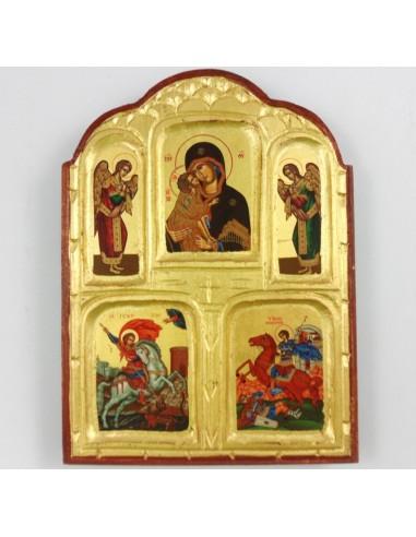 Poliptico madera con imagenes variadas de Santos, 18 x 25 cm.