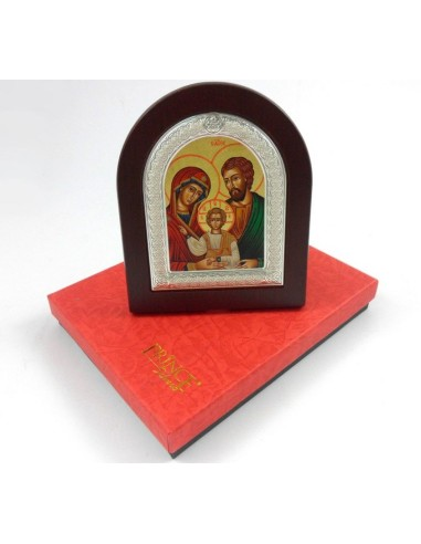 Icono Sagrada Familia, plata, 11 x 13 cm