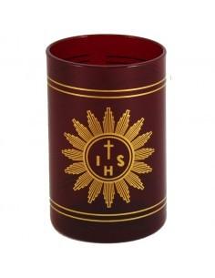 Vaso lámpara Santisimo cristal rojo pequeño.  dimensiones: 75 x 115 mm