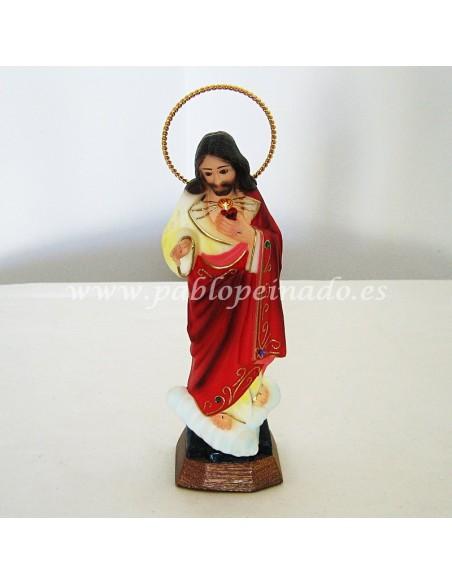 Imagen de Sagrado Corazón de Jesús en resina policromada.