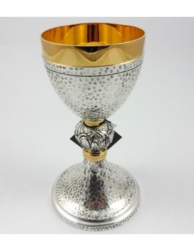 Caliz plateado con interior en dorado, 20 x 10 cm
