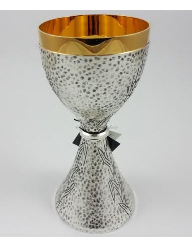 Caliz plateado con interior dorado, 20 x 9 cm