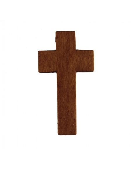 CRUZ MADERA con cordon Color: Marron oscuro Medida: 50 mm x 30 mm