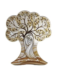 Icono árbol de la vida con imagen Sagrada Familia Se puede poner tanto de sobremesa como para colgar. Medida: 12 cm