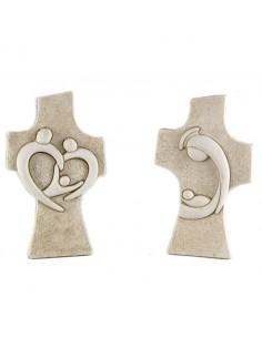 Cruz sobremesa efecto piedra.  Cruz realizada en resina, mide 10 cm de altura. Ideal como decoración en cualquier lugar: ofic