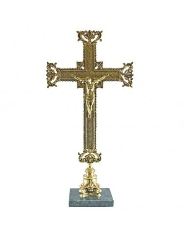 Cruz sobremesa 40 cm bronce con base de marmol.