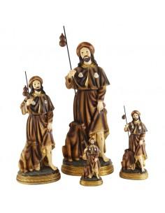 Imagen de San Roque. Representación del Santo San Roque realizado en resina y acabado pintado. Aparece vistiendo túnica, capa