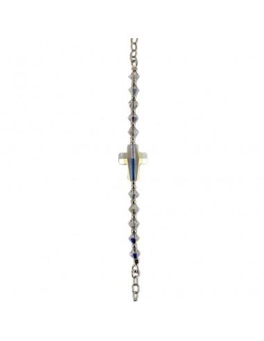 Pulsera con cruz de plata con cristal de Swarovski