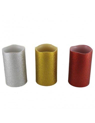 Velon con luz led de plastico con cera de diferentes colores. Medida: 7,50 x 7,50 x 12,50 cm