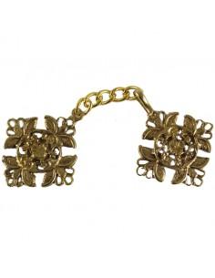 Broche en metal dorado para capa Medida: 5 cm x 4,5 cm