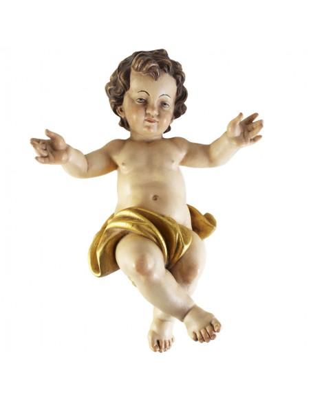 Niño Jesús sin cuna, talla de madera policromada a mano, decoración antigua.