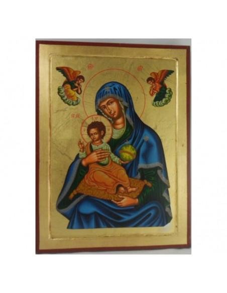 Cuadro de madera con Virgen Misericordiosa corfu pintado a mano. Dimensiones: 40x30 cm