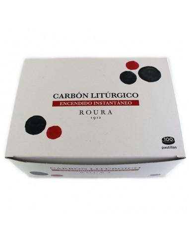 Carbón litúrgico para incensario de encendido instantáneo. Caja de 100 piezas de Ø 40 mm. En paquetes de 10 pastillas. ROURA.