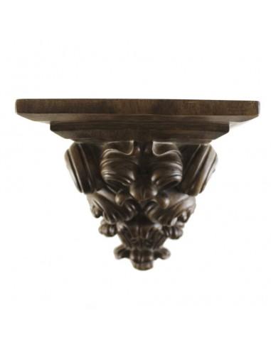 Repisa de escayola con decoración en madera. Dimensiones: 25 cm alto x 25 cm ancho x 30 cm fondo