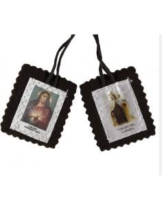 Escapulario tela 2 cm con imagen del Sagrado Corazon de Jesus y Virgen con niño