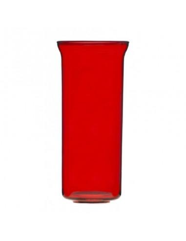 Vaso para lámpara del Santísimo cristal rojo con orificio en la parte inferior.  Dimensiones:  8 cms Ø parte superior 6.8