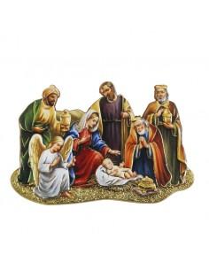 Iman y cuadrito de nacimiento con reyes y angel  Medida: 7 cm de ancho x 5 cm de alto