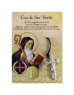 Colgante cruz de San Benito en cartoncillo Medida: 4 cm
