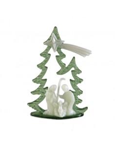 Arbol de navidad con Sagrada Familia fluorescente Medida: 8 cm